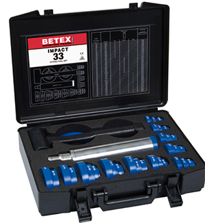 BETEX Impact 33 Fitting Tool Set: For safe, precise and quick mounting of bearings, bushings, sealing rings, cam wheels and pulleys the use of an Impact fitting tool set is an absolute necessity.